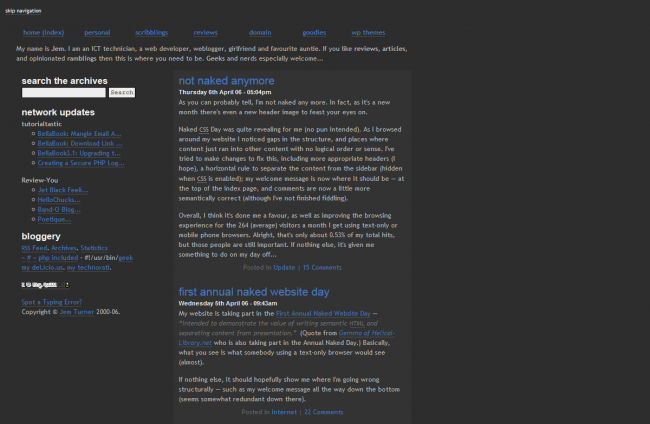 Circa April 2006; shame the WBM didn't capture the header image