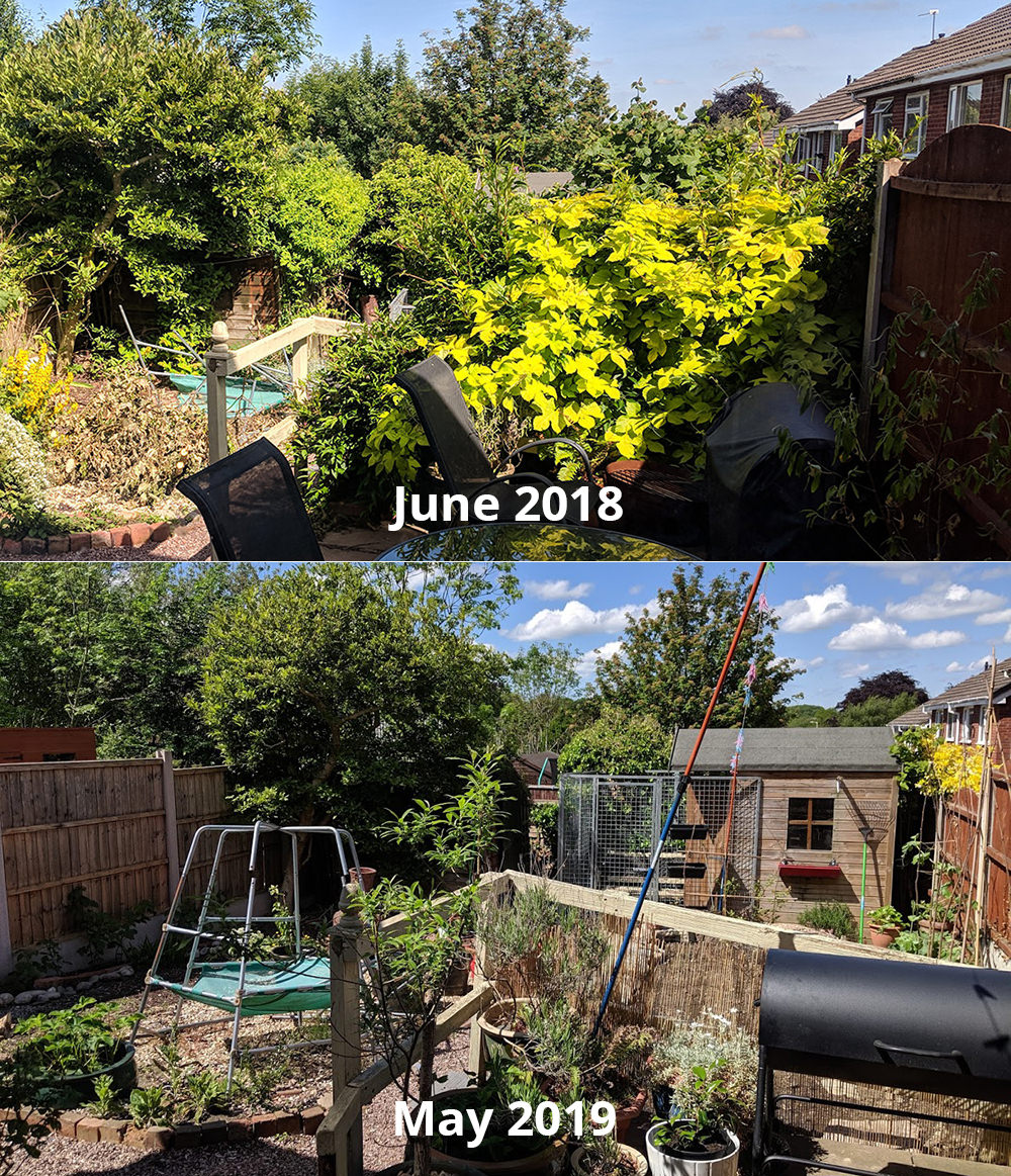 Back garden in June 2018 looking like a jungle, and after in May 2019 much tidier